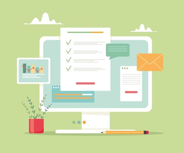 Computador com comunicação de páginas abertas e gestão analítica de negócios Vetor Premium