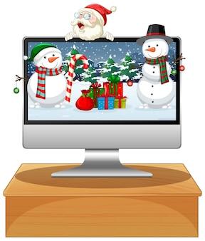 Computador com fundo de área de trabalho com tema natal de inverno