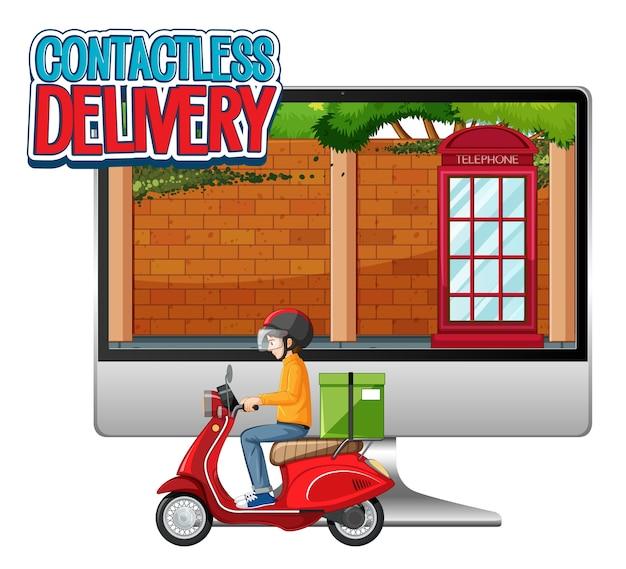 Computador com homem de bicicleta ou mensageiro e entrega sem contato