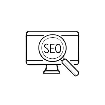 Computador com ícone de doodle de contorno de mão desenhada seo e lupa. desenvolvimento de site, conceito de mecanismo de pesquisa
