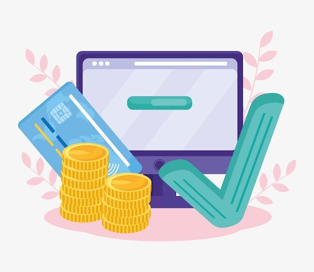 Computador com ícones de pagamento