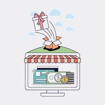 Computador com ícones de parasol e ecommerce vector design ilustração