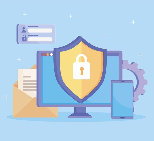 Computador com ícones de segurança cibernética