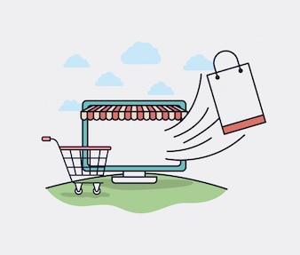 Computador com ícones parasol e ecommerce