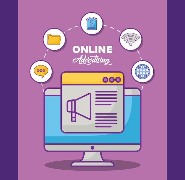 Computador com ícones relacionados com marketing on-line