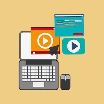 Computador com imagem de ícones relacionados escritório e negócios