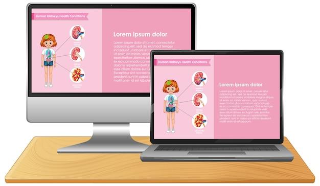 Computador com infográfico de ciências na tela do desktop