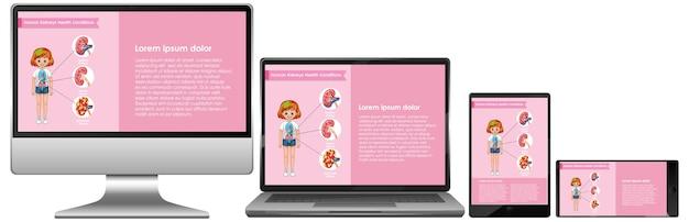 Computador com infográfico de ciências na tela do desktop Vetor grátis