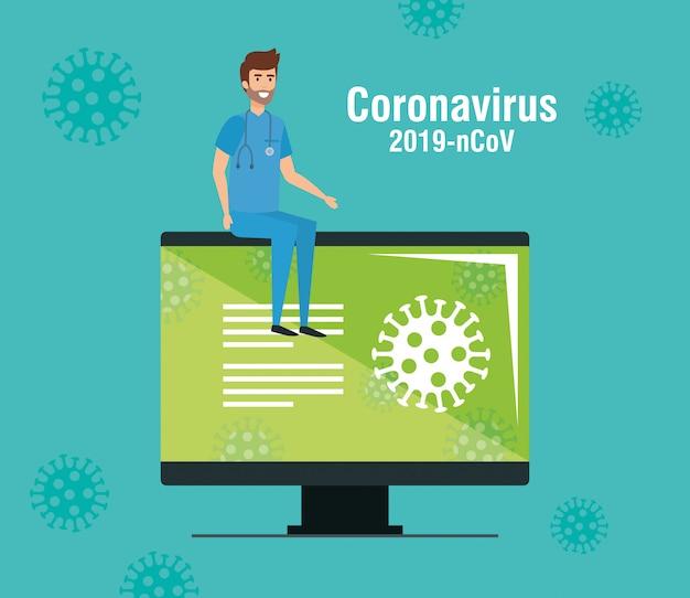 Computador com informações de 2019-ncov e paramédico