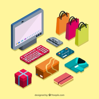 Computador com itens de compras on-line isométricos