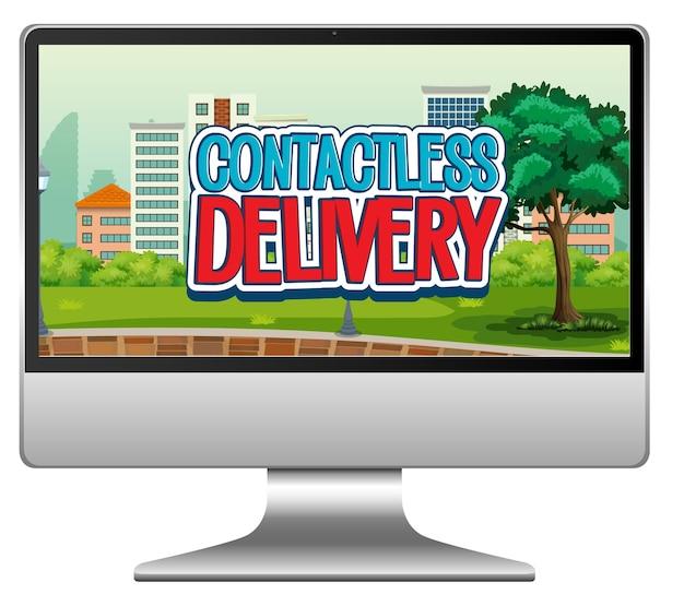 Computador com logotipo de entrega sem contato