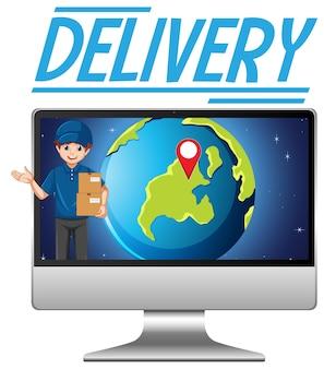Computador com logotipo de entrega