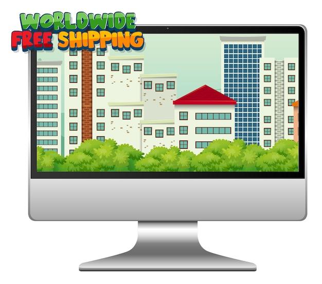 Computador com logotipo de frete grátis mundial