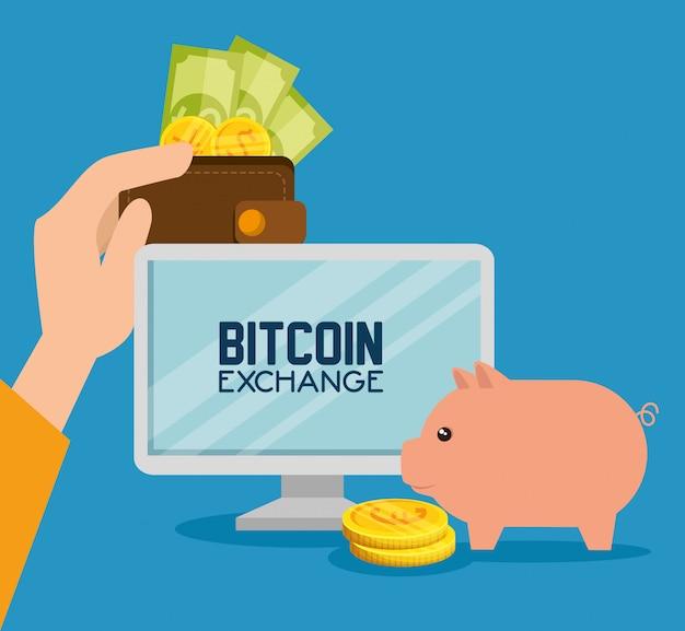 Computador com moeda bitcoin com porco e dinheiro