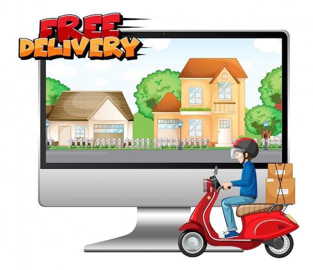 Computador com moto ou mensageiro e logotipo de entrega gratuita