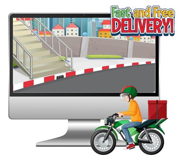 Computador com moto ou mensageiro e logotipo de entrega rápida e grátis