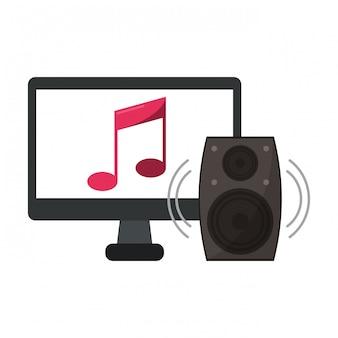 Computador com música e alto-falante