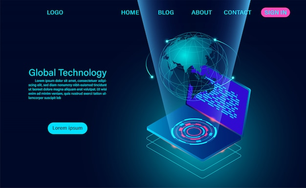 Computador com rede global. página de destino do conceito de conexão com a internet e comunicação global