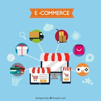 Computador, comércio eletrônico e produtos com design plano