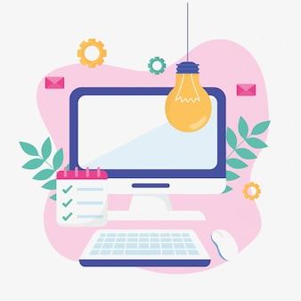 Computador criatividade educação escolar on-line