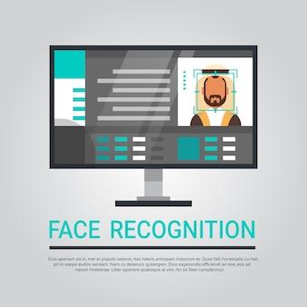 Computador da tecnologia do reconhecimento de cara que faz a varredura do usuário masculino muçulmano conceito biométrico da identificação