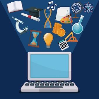 Computador de fundo com tecnologia de fundo com ícones de halo luzes conhecimento acadêmico