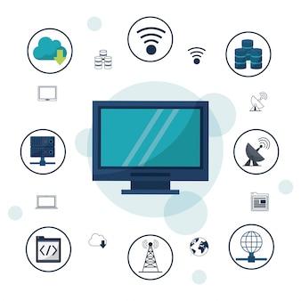 Computador de mesa e ícones conexões de rede e comunicações