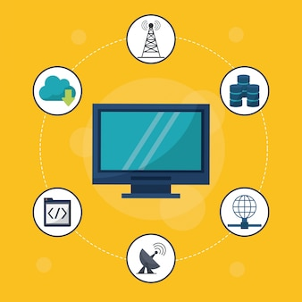 Computador de secretária em close-up e ícones de rede ao redor