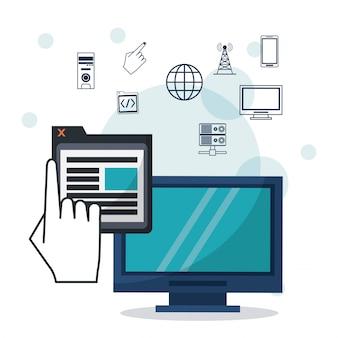 Computador desktop com aplicativo de janela e ícones de rede