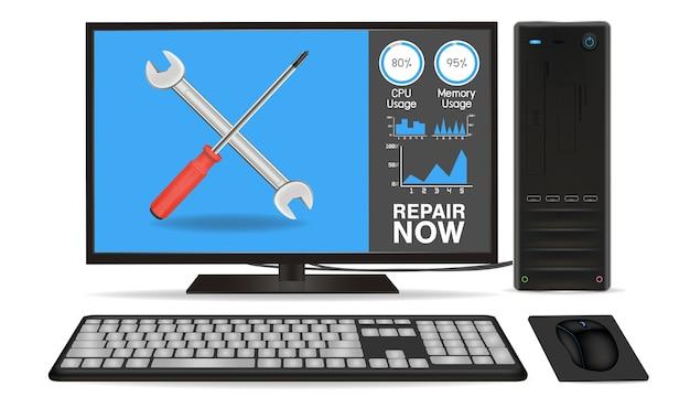 Computador desktop com aplicativo de reparo