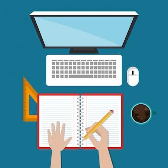 Computador desktop com fácil e-learning