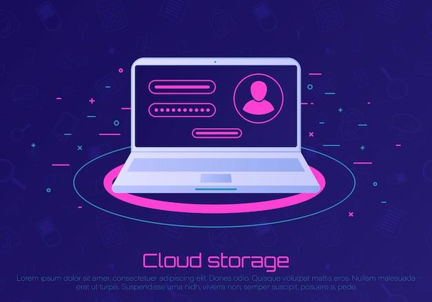 Computador desktop com notificação de bolha de senha desbloqueada. armazenamento de arquivos na nuvem. conceito de segurança, acesso pessoal, autorização do usuário, ícone do formulário de login, proteção da internet.