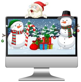 Computador desktop tema natal