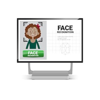 Computador, digitando, usuário, femininas, rosto, identificação, tecnologia, controle acesso, sistema, biometrical, reconhecimento, conceito