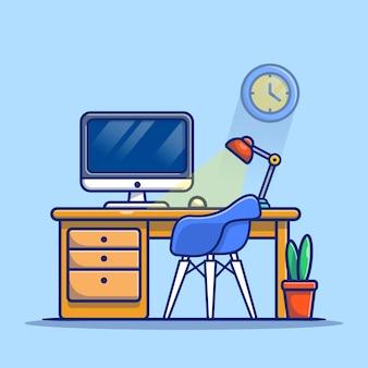 Computador do espaço de trabalho com lâmpada e planta cartoon icon ilustração. local de trabalho tecnologia ícone conceito isolado premium. estilo cartoon plana