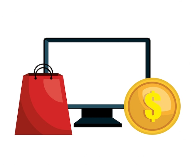 Computador e-commerce comprar mercado isolado