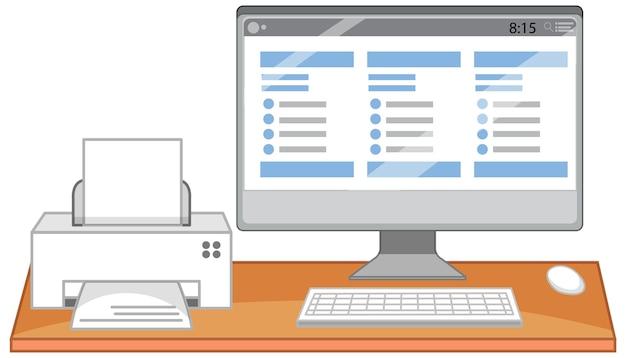 Computador e impressora na mesa do escritório em fundo branco