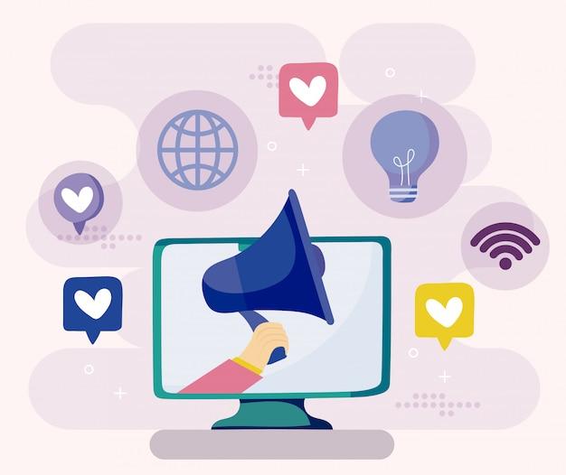 Computador e megafone do conceito de mídia social