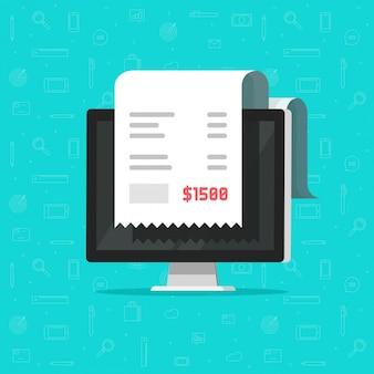 Computador e pagamento de fatura de recibo ou desenho de fatura on-line