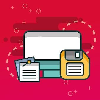 Computador e papel de notas de disquete