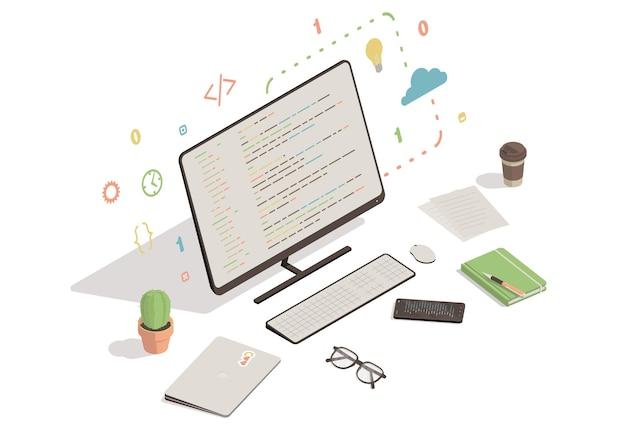 Computador e smartphone com ilustração do código do programa