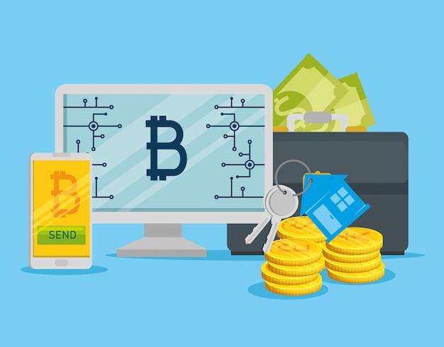 Computador e smartphone com moeda eletrônica de bitcoin