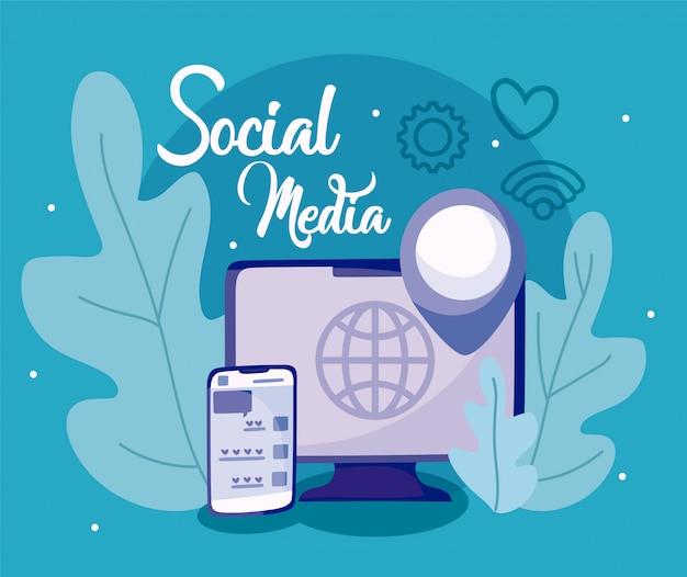 Computador e smartphone do conceito de mídia social