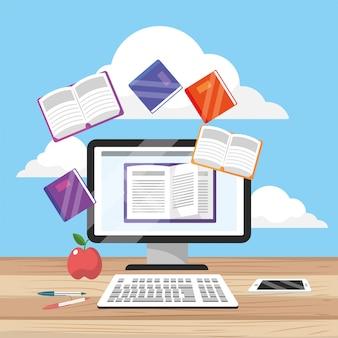 Computador e smartphone tecnologia com livros digitais