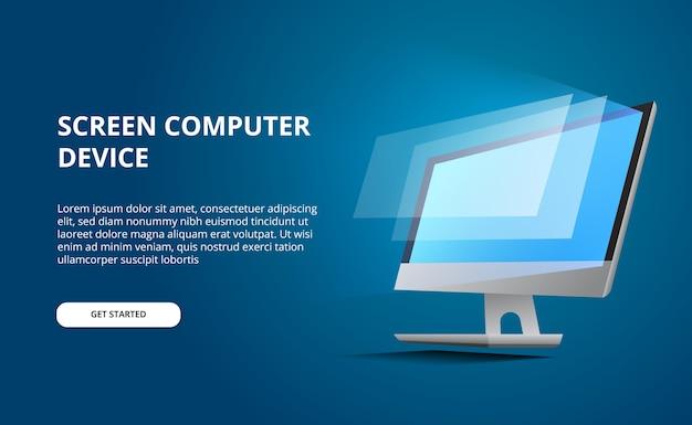 Computador em perspectiva com tela brilhante. exibir computador com fundo azul