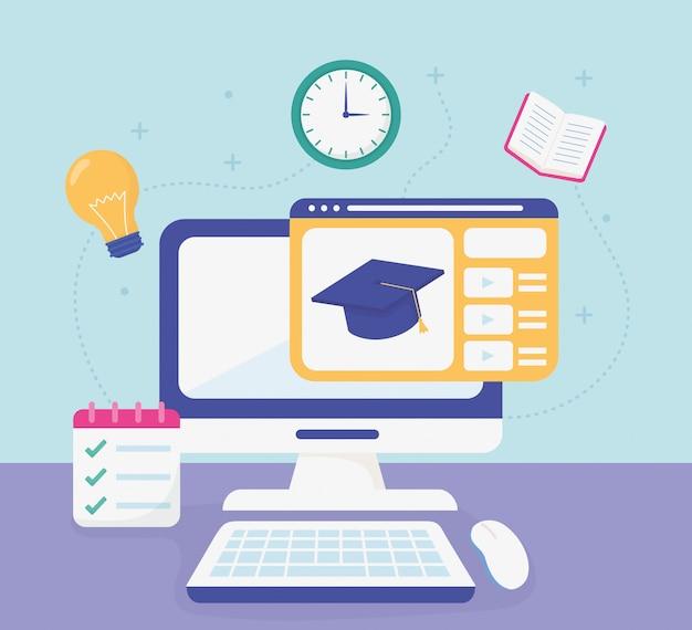 Computador graduação chapéu escola educação on-line