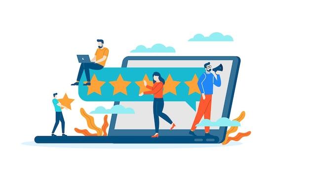 Computador internet web classificação por estrelas avaliação pessoas dão feedback vector design de ilustração plana