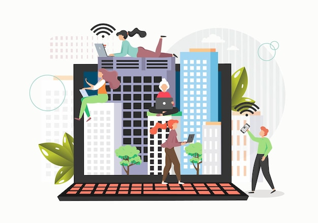 Computador laptop gigante e pequenos personagens masculinos e femininos usando dispositivos móveis e internet sem fio