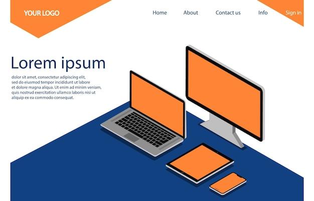 Computador, laptop, telefone e tablet. página de destino.