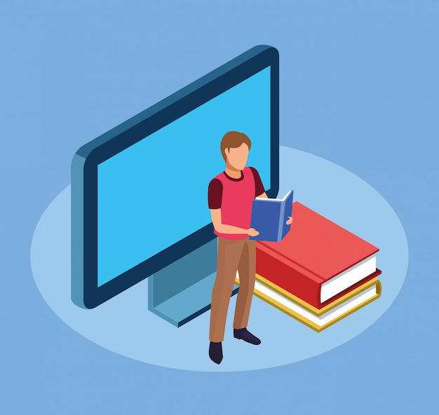 Computador, livros e homem em pé lendo um livro